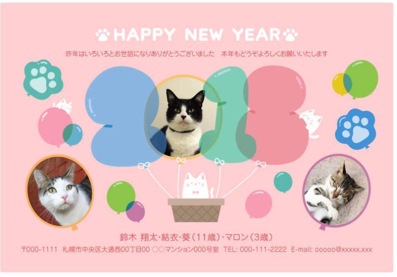 猫かわいい年賀状デザイン